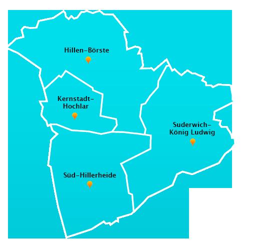 Stadtteile Winterdienst Schnee- Eisbeseitigung Recklinghausen